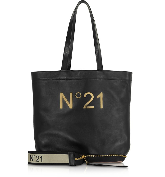 Black Leather Small Foldable Shopping Bag - N°21