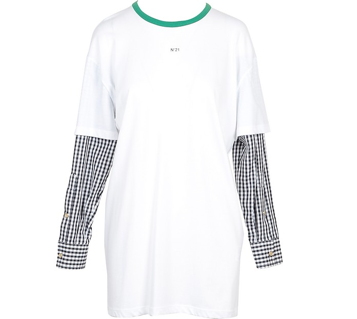 White Cotton Women's Checked Long Sleeves T-Shirt - N°21