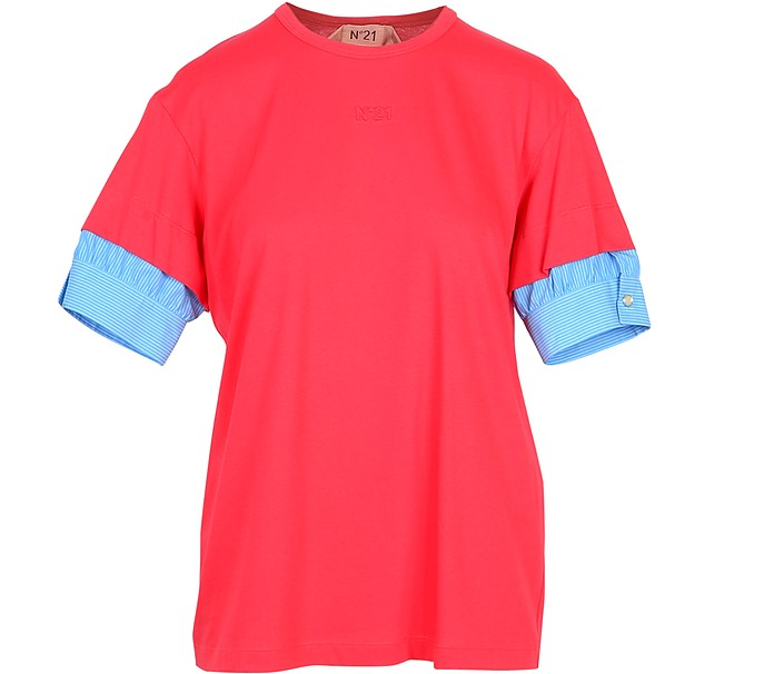 Red Cotton Women's T-Shirt w/Puff Sleeves - N°21