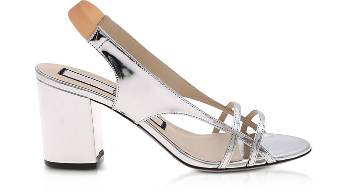 Silver Laminated Mid-Heel Sandals - N°21
