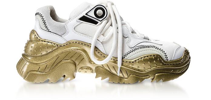 Chunky Sneakers da Donna in Pelle e Nylon bianco con Suola Oro - N°21