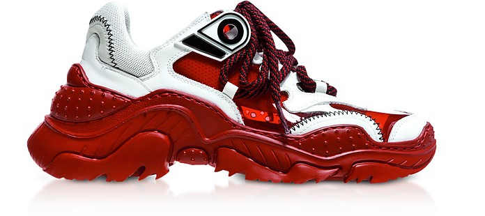 White Calf Leather & Red PVC Sneakers - N°21