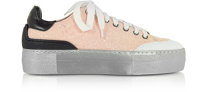 Pink Sequins and Leather Women's Sneakers - N°21
