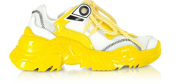 White Synthetic & Kristal Yellow Sneakers - N°21