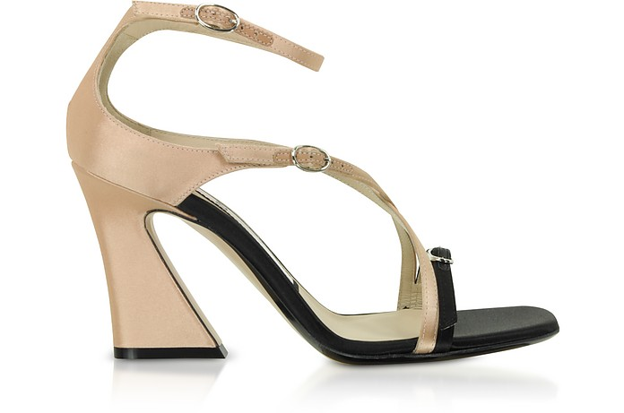 Black & Peach Satin Mid-Heel Sandals - N°21