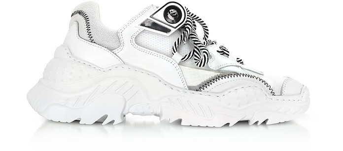 White Calf Leather & Synthetic Sneakers - N°21