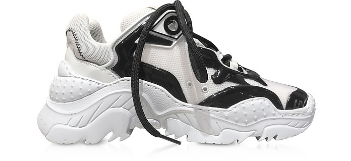 Billy Sneakers da Donna in Pelle, Vernice e Nylon Black & White - N°21