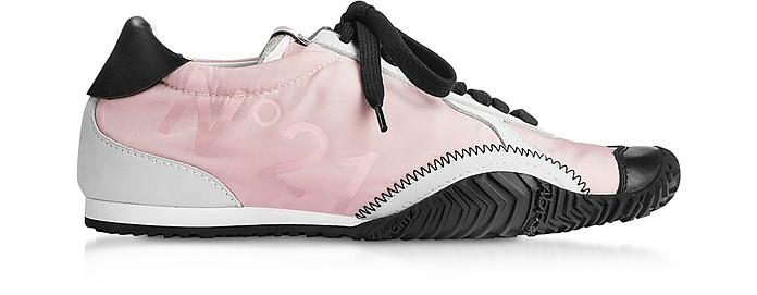 Strike Sneakers da Donna in Satin Logato Rosa Cipria e Pelle - N°21