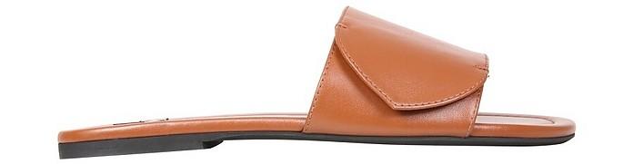 Brown Slide Sandals With Logo - N°21