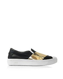 Black & Gold Metallic Leather Slip-on Sneaker - N°21