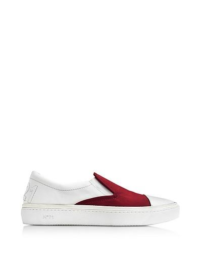 Burgundy Satin & White Leather Slip-on Sneaker - N°21