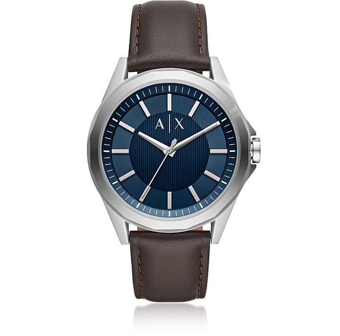 Drexler Three-Hand Brown Leather Watch - Armani Exchange