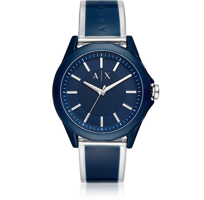 Drexler Blue Three Hand Polyurethane Watch - Armani Exchange