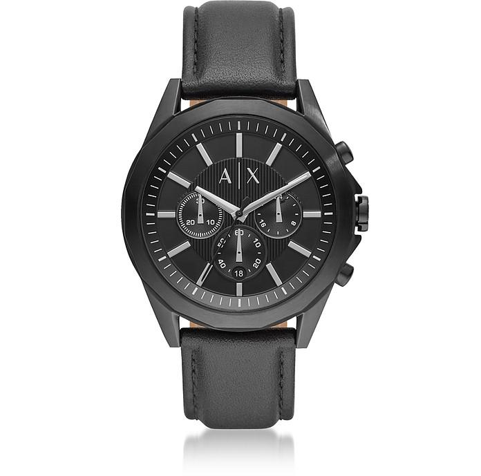 Drexler Black Dial and Black Leather Men's Chronograph Watch - Armani Exchange