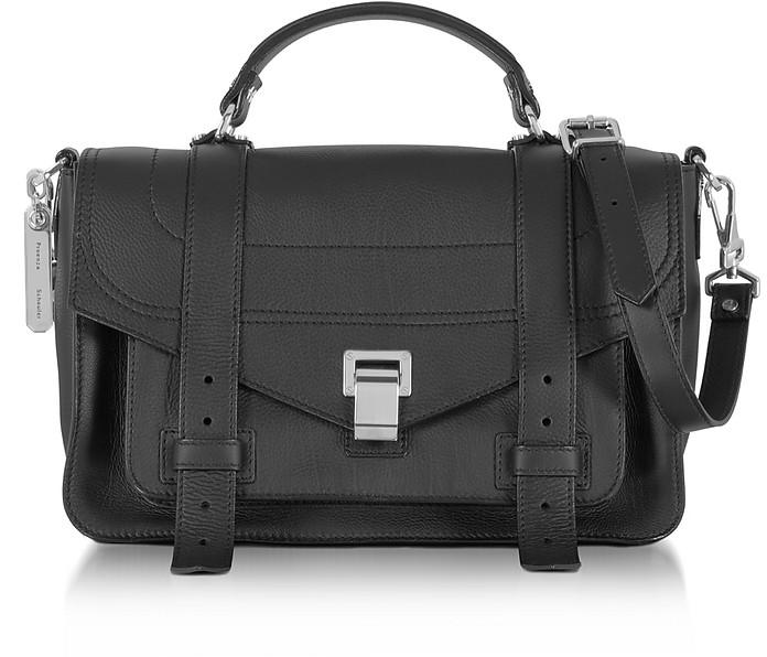 PS1+ Medium Black Grainy Leather Flap Handbag - Proenza Schouler