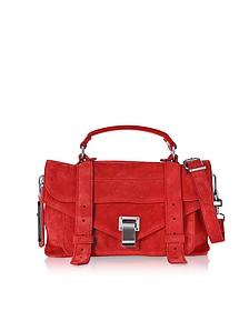PS1 Tiny Cardinal Red Suede Satchel Bag - Proenza Schouler