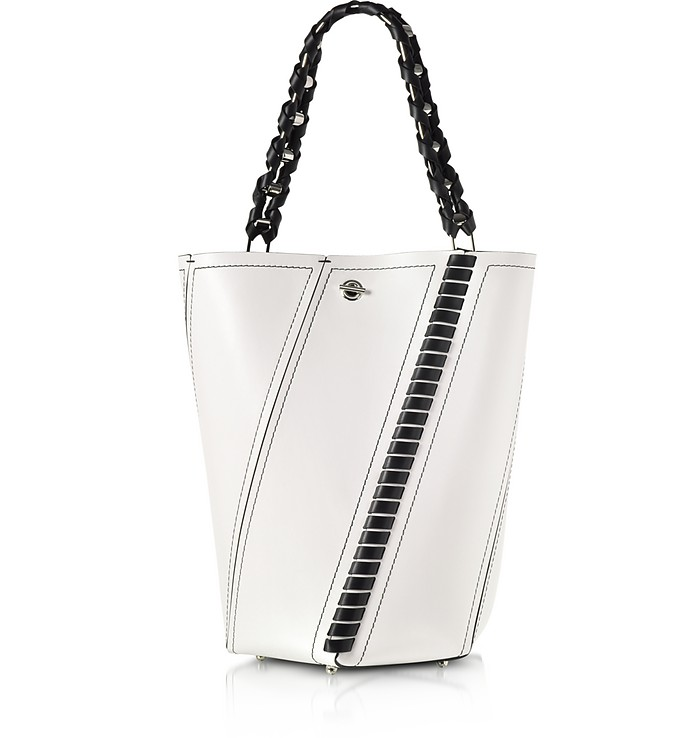 Black and White Leather Medium Hex Bucket Bag w/Whipstitch - Proenza Schouler