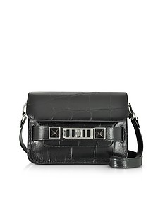 Black Embossed Giant Croc PS11 Mini Classic Shoulder Bag - Proenza Schouler