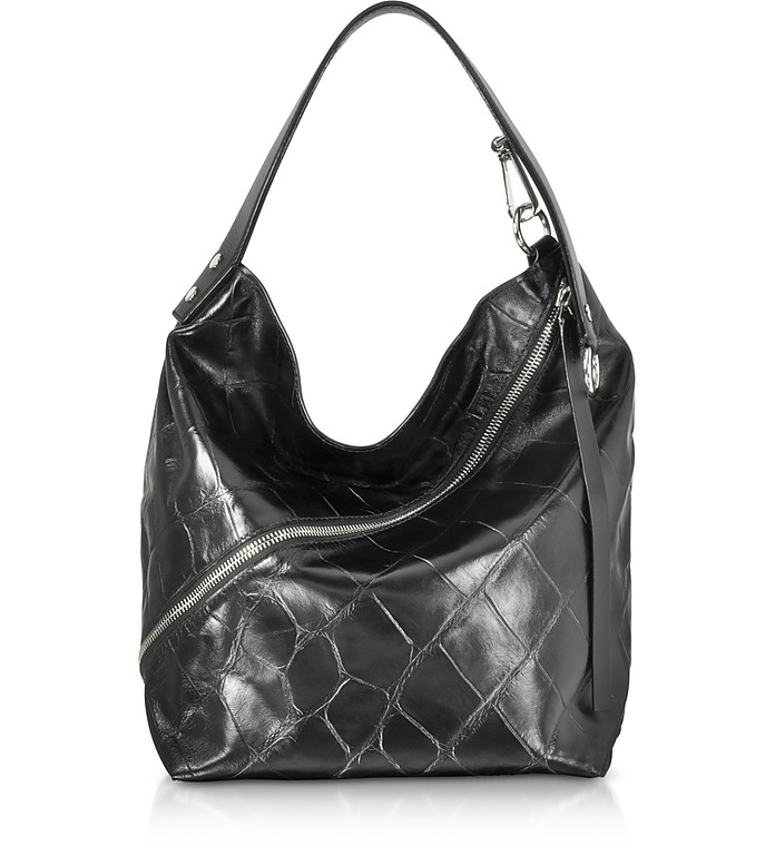 10f5f7738632 Proenza Schouler Black Embossed Giant Croc Zip Medium Hobo Bag at ...
