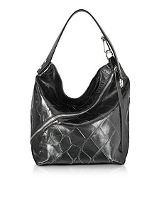 Black Embossed Giant Croc Zip Medium Hobo Bag - Proenza Schouler
