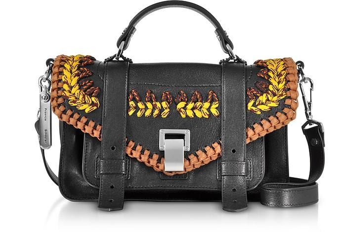 Ps1+ Tiny-Lux Leather Satchel Bag w/Crochet - Proenza Schouler