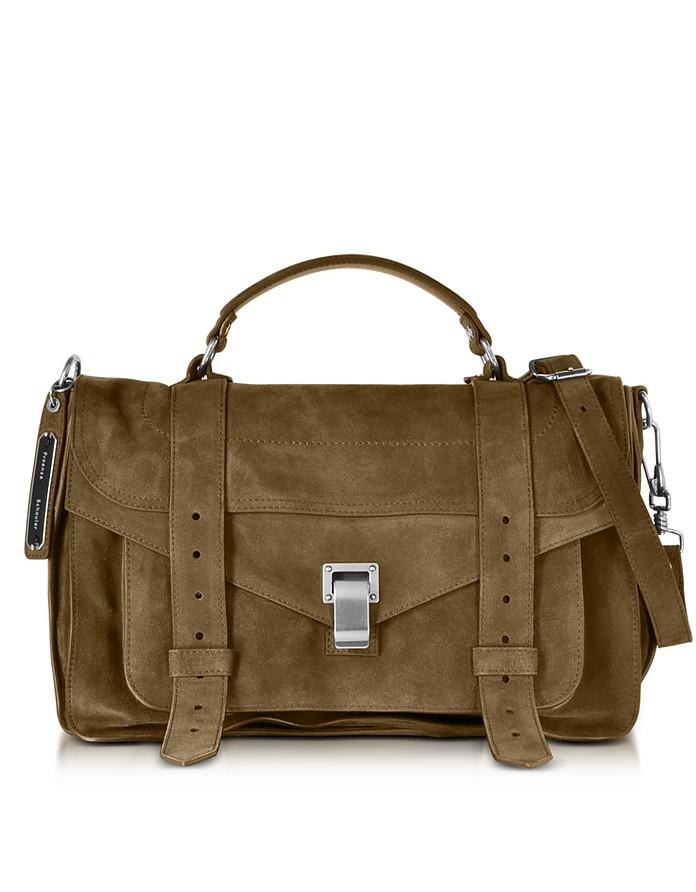 PS1 Medium Bay Leaf Suede Satchel Bag - Proenza Schouler