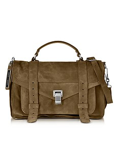 PS1 Medium Bay Leaf Suede Satchel Bag - Proenza Schouler