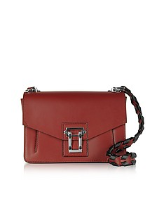 Hava Red Plum Smooth Leather Shoulder Bag w/Whipstitch Strap - Proenza Schouler
