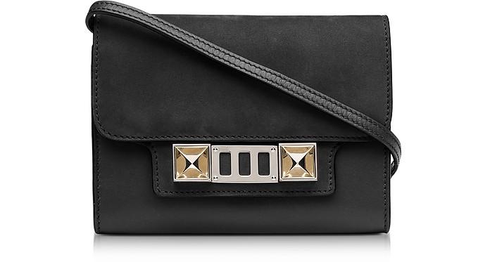 PS11 Black Leather and Nubuck Wallet w/Shoulder Strap - Proenza Schouler