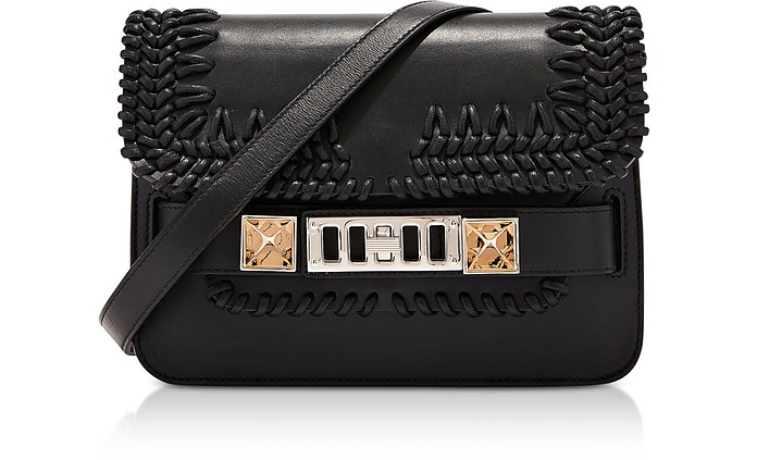 PS11 Black Smooth Leather Mini Classic Shoulder Bag wCrochet - Proenza Schouler