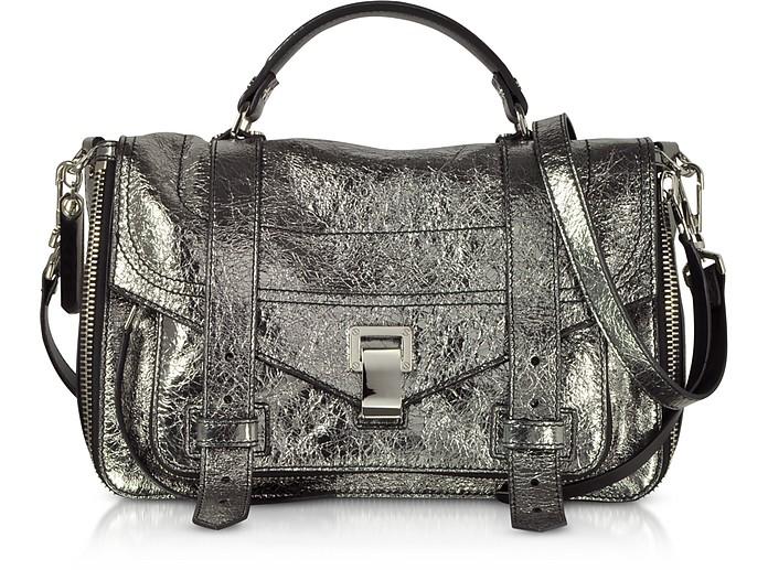 PS1+ Metallic Leather Medium Zip Satchel Bag - Proenza Schouler