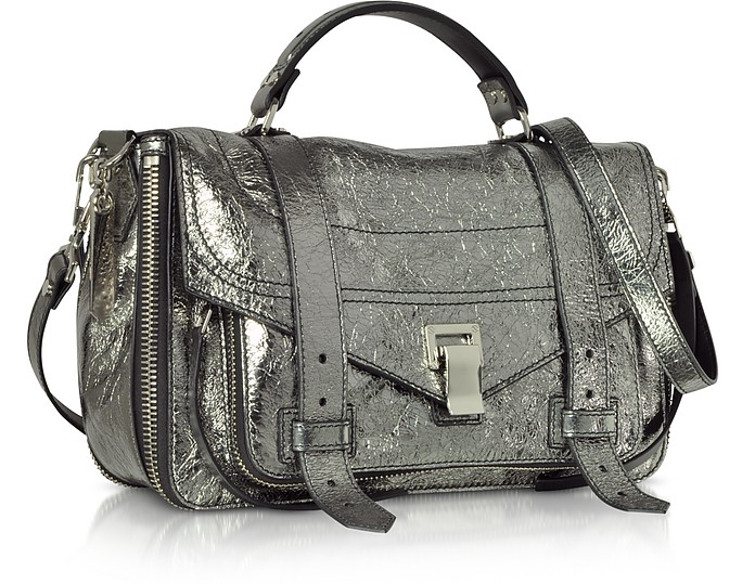 Proenza Schouler PS1+ Metallic Leather Medium Zip Satchel Bag at ... b0279d11bacba