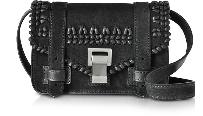 PS1+ Black Suede Mini Crossbody Bag w/Crochet - Proenza Schouler