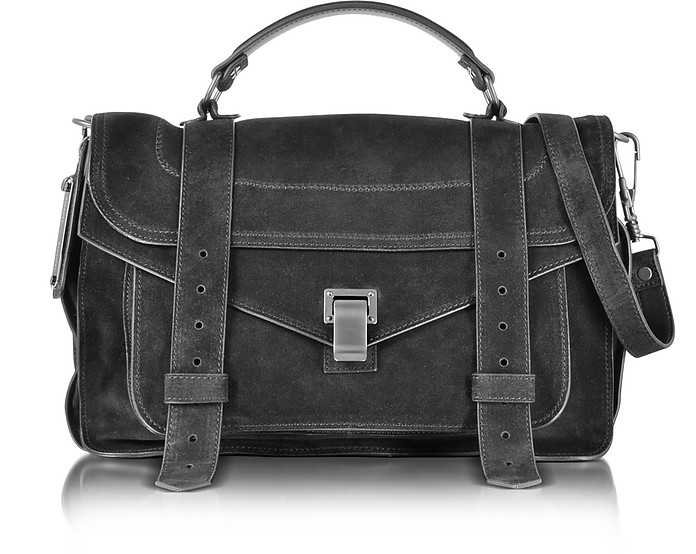 PS1 Medium Black Suede Satchel Bag - Proenza Schouler