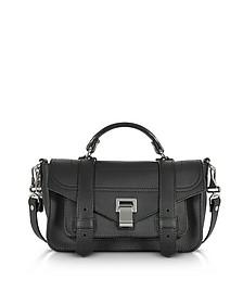 PS1+ Tiny Black Leather Flap Handbag - Proenza Schouler