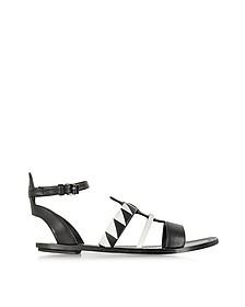 Two-Tone Leather Flat Sandal
