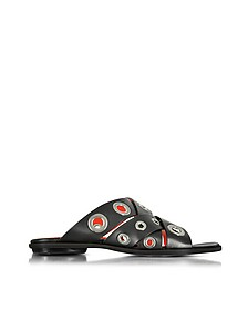 Black Leather Flat Slide w/Grommet - Proenza Schouler