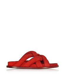 Sandalias Slide de Ante Rojo con Ojal de Metal - Proenza Schouler