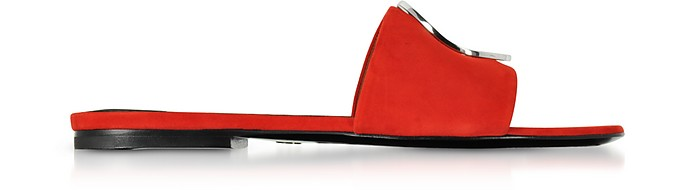 Tulip Red Suede Slide Sandals - Proenza Schouler