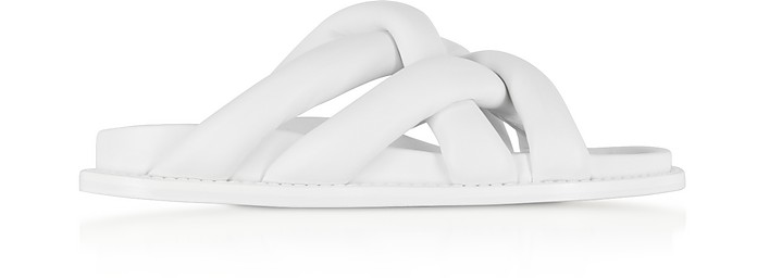 Optic White Suede Flat Sandals - Proenza Schouler