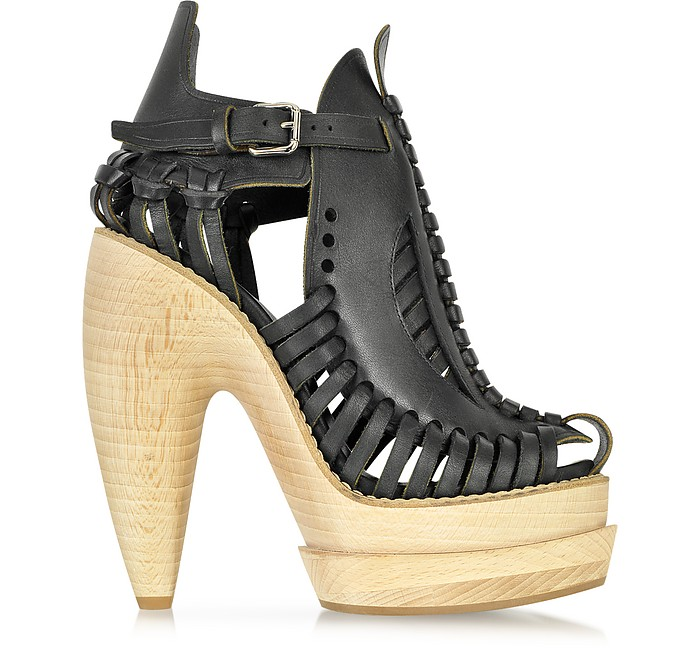 Runway Woven Leather Wooden Platform Sandal - Proenza Schouler