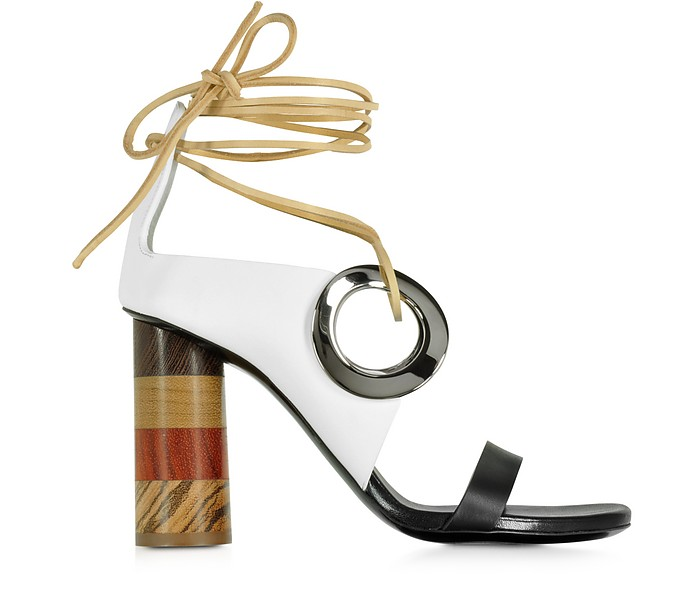 Black and White Leather Open Toe Sandal w/Chunky Wooden Heel  - Proenza Schouler