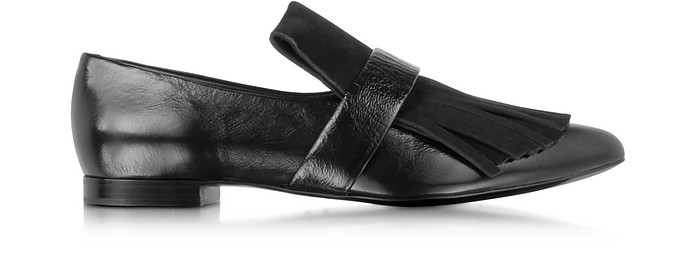 Black Leather and Suede Fringe Loafer - Proenza Schouler