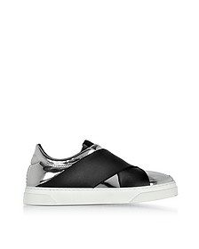 Black and Silver Mirror Leather Slip On Sneakers - Proenza Schouler