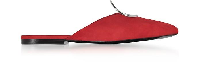 Flame Red Suede Flat Mule W/Metal Eyelet