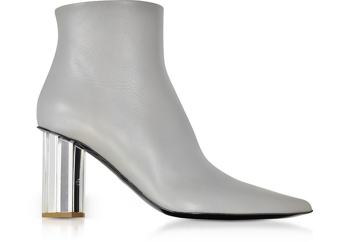 Taupe Gray Leather Mirror Heel Boots - Proenza Schouler