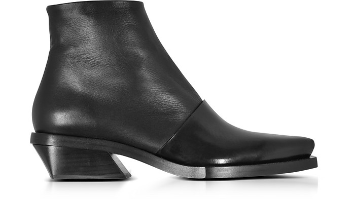 Black Leather Pointy Booties  - Proenza Schouler