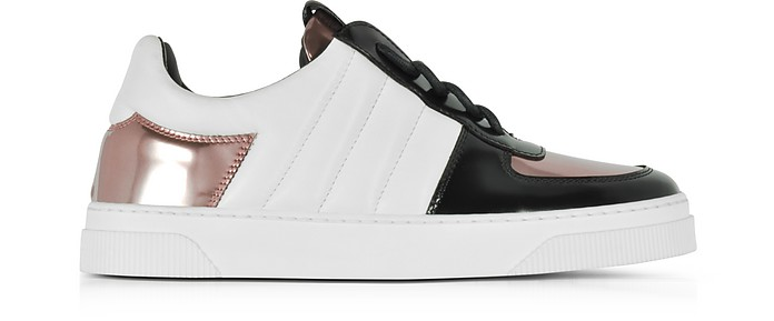 Black, White and Rose Gold Laminated Leather Sneakers - Proenza Schouler
