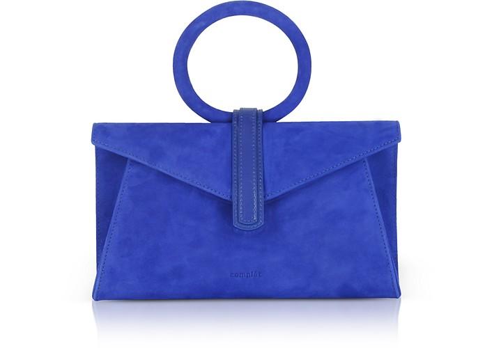 Royal Blue Suede Valery Mini Clutch Bag w/Shoulder Strap - Complet