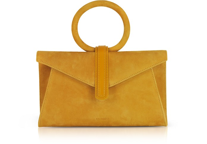 Mustard Yelllow Suede Valery Mini Clutch Bag w/Shoulder Strap - Complet